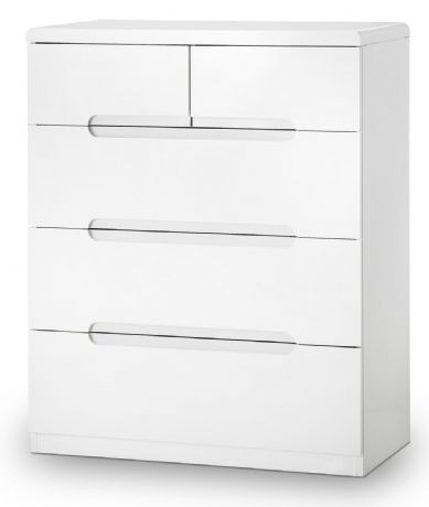 Manhattan White High Gloss 3+2 Drawer Chest by Julian Bowen Sale Now on at Your Price Furniture